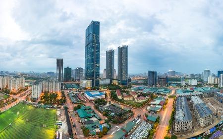 Hanoi city skyline view by twilight period, Pham Hung street, Cau Giay district