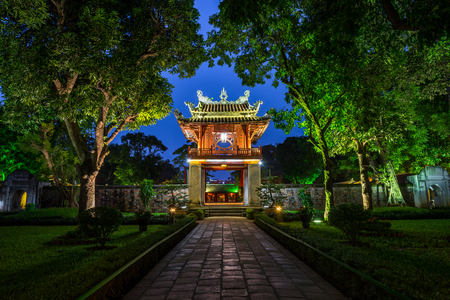 Khue Van Cac ( Stelae of Doctors ) in Temple of Literature ( Van Mieu ) at night. The temple hosts the Imperial Academy, Vietnams first national university, was built in 1070