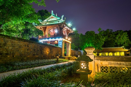 Khue Van Cac ( Stelae of Doctors ) in Temple of Literature ( Van Mieu ) at night. The temple hosts the