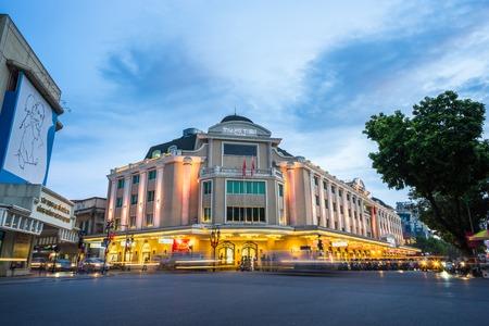 Hanoi, Vietnam - Sep 1, 2016: Hanoi cityscape at twilight in Dinh Tien Hoang street with Trang Tien plaza building