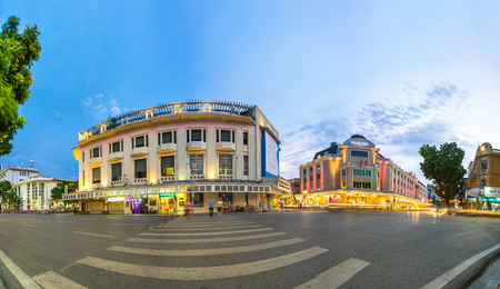 departmentstore: Hanoi, Vietnam - Sep 1, 2016: Hanoi cityscape at twilight in Dinh Tien Hoang street with Trang Tien plaza building