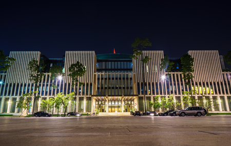 communism: Hanoi, Vietnam - Oct 8, 2016: Hanoi Parliament building at Ba Dinh square