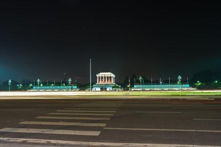 Hanoi, Vietnam - Oct 8, 2016: Ho Chi Minh mausoleum at Ba Dinh square at night