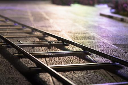 Professional camera rail dolly at night