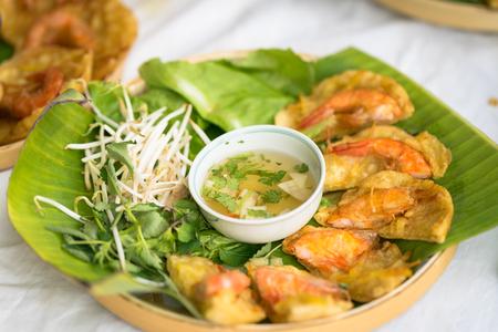 bean sprouts: Vietnamese shrimp pancake (Banh Tom in Vietnamese)