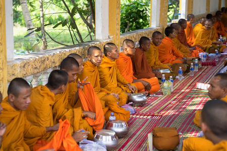 ordain: An Giang, Vietnam - Dec 6, 2016: Young monks in temple at ordination ceremony that change the Vietnamese young men to be adult Editorial