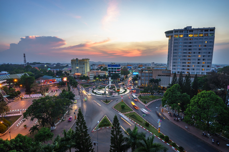 Dak Lak, Vietnam - Mar 12, 2017: Aerial skyline view of Buon Ma Thuot ( Buon Me Thuot) by sunset period, the capital of Dak Lak Province and also the biggest city in Central Highlands (Tay Nguyen)