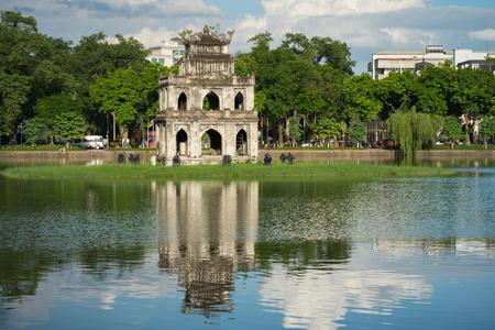 Turtle Tower (Thap Rua) in Hoan Kiem lake (Sword lake, Ho Guom) in Hanoi, Vietnam. Stock Photo