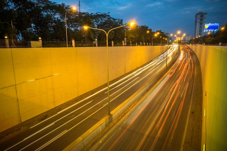 Kim Lien traffic tunnel at twilight in Hanoi, Vietnam