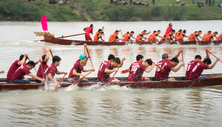 Bac Ninh, Vietnam - Feb 7, 2017: Traditional boat racing spring festival on Cau river, Bac Ninh province Editorial