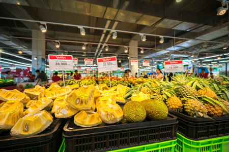 Hanoi, Vietnam - July 10, 2017: Fresh jackfruit on shelf in Vinmart supermarket, Minh Khai street.