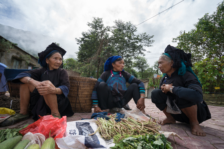 Lao Cai, Vietnam - Sep 7, 2017: Local market in Y Ty, Bat Xat district. Most ethnic minority people go to the market to sell and buy local daily necessity.
