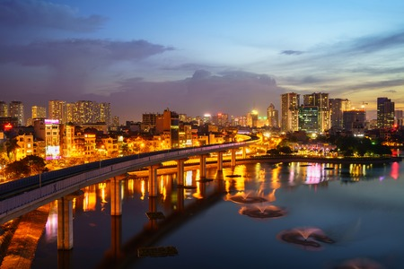Aerial skyline view of Hanoi. Hanoi cityscape at twilight at Hoang Cau lake Reklamní fotografie