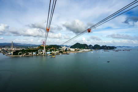 Halong city aerial view with Bai Chay bridge in Quang Ninh province, Vietnam