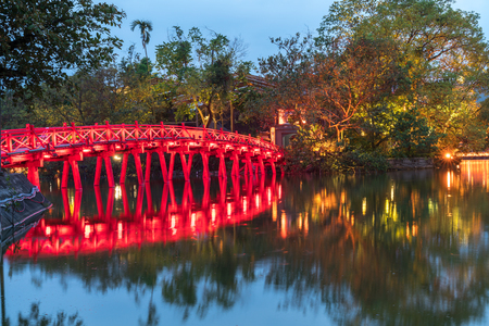 Red Bridge- The Huc Bridge in Hoan Kiem Lake, center of Hanoi, Vietnam