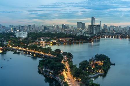 Aerial view of Hanoi skyline at West Lake or Ho Tay. Hanoi cityscape at twilight