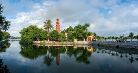 Tran Quoc pagoda in the morning, the oldest temple in Hanoi, Vietnam. Hanoi cityscape. Фото со стока