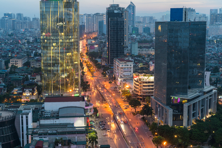 Aerial skyline view of Hanoi. Hanoi cityscape at twilight at Lang Ha street, Ba Dinh district Stock Photo