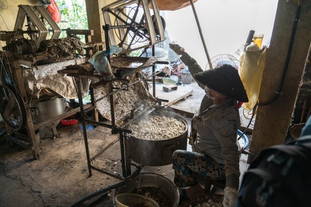 Silkworm cocoon is boilling and unwinding by Vietnamese worman to make silk thread at village in Nam Dinh province, Vietnam Imagens