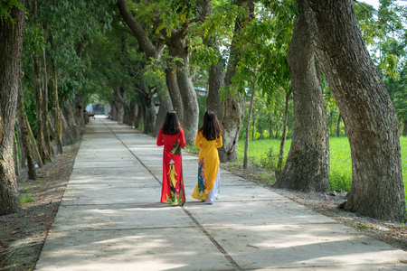 Vietnamese women in traditional dress (Ao Dai) walking on the rural road among trees