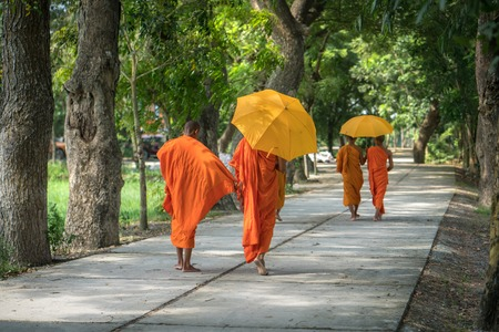 Monks in saffron robe and umbrella walking on rural road among trees in Mekong Delta, Vietnam Imagens