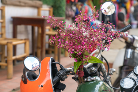 Flowers on vintage motorcycle