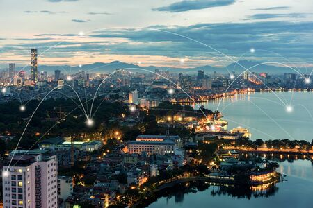 Smart city and wireless communication network concept. Digital network connection lines of Hanoi city at West Lake or Ho Tay