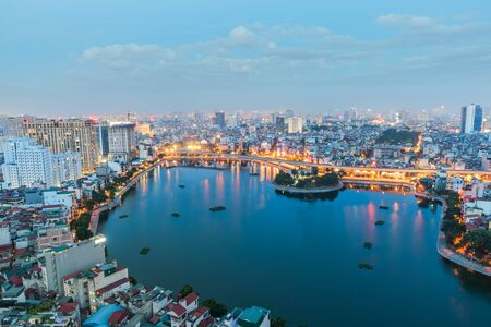 Aerial skyline view of Hanoi. Hanoi cityscape at twilight at Thanh Cong lake, Ba Dinh district
