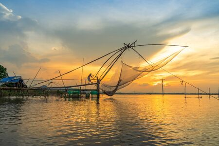 Mekong Delta landscape with big fishing net in floating water season in Chau Doc, An Giang province, Mekong Delta, South Vietnam