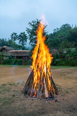 Outdoor camp fire burning at blue hour or twilight Фото со стока
