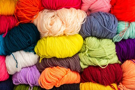 Colorful of Yarn Wool in a Fabric Shop Stok Fotoğraf