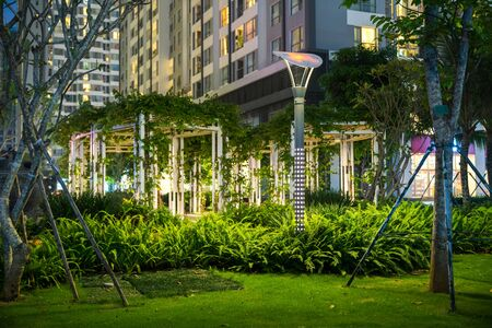 Garden with lamps at night. Tree and building on background