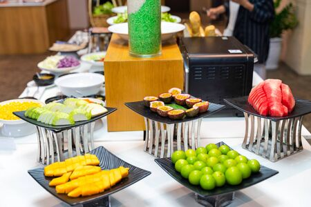 Fresh fruits on buffet table in restaurant