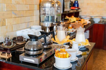 Self service breakfast at drink counter in a hotel restaurant