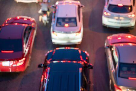 Blurred car traffic background in city street