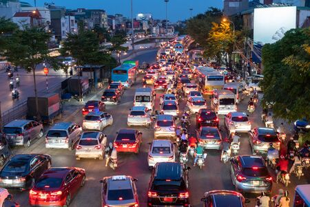 Aerial view of Hanoi busy traffic at twilight