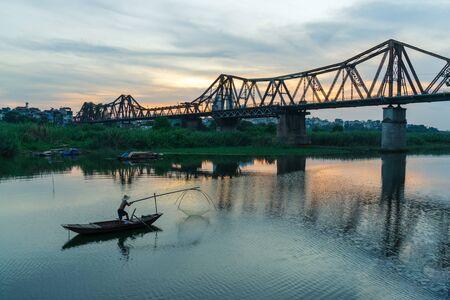 The Long Bien railway bridge crossing the Red River in Hanoi