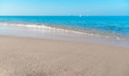 Tropical sea beach with sand and wave of the sea Imagens