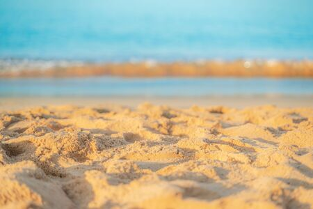 Empty sea and beach sand with soft focus Imagens