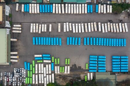 Aerial view of city buses in the parking lot at the bus station 写真素材 - 149933472