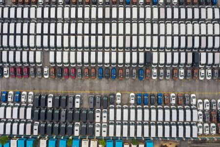 Aerial view of all new cars parking at the factory 写真素材 - 149933479