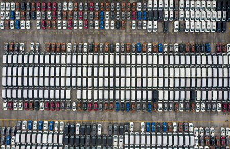 Aerial view of all new cars parking at the factory Stockfoto