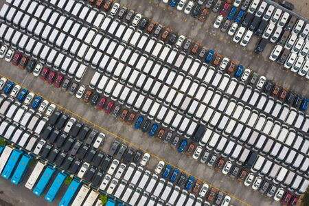 Aerial view of all new cars parking at the factory 写真素材 - 149933483