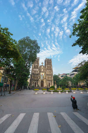 St Joseph's Cathedral (Nha Tho Lon in Vietnamese) at early morning in Hanoi, Vietnam