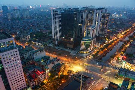 Cityscape of Hanoi skyline at Minh Khai - Kim Nguu street, Hai Ba Trung district during sunset time in Hanoi city, Vietnam in 2020
