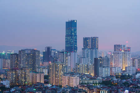 Cityscape of Hanoi skyline at Nguyen Chi Thanh street, Dong Da district during sunset time in Hanoi city, Vietnam in 2020 Stockfoto
