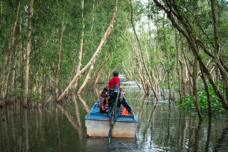 Tourism motorboat in cajuput forest in floating water season in Mekong Delta, Can Tho, Vietnam Stock Photo