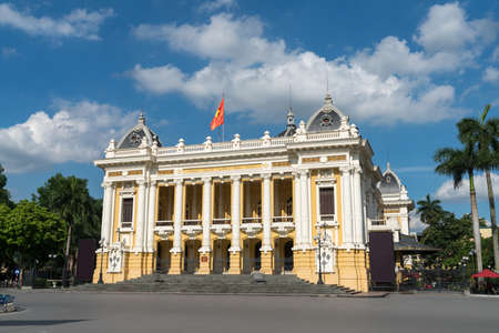 French built Opera House in Hanoi, with blue sky and white clouds Stock Photo