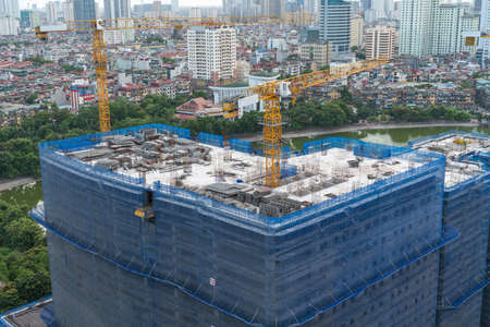 Hanoi skyline view with under construction building at Thanh Cong lake, Ba Dinh district