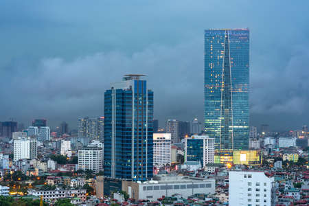 Aerial skyline view of Hanoi city, Vietnam. Hanoi cityscape by sunset period at Ba Dinh district viewing from Lang Ha street